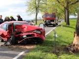 Nauen - Friesack ++ Unfall mit Verletzter Person auf B 5 bei Mühlenberge-Haage ++ PKW am Baum ++